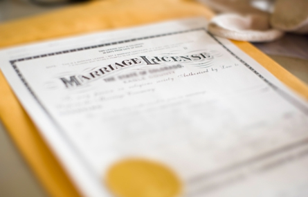 Photo of marriage license