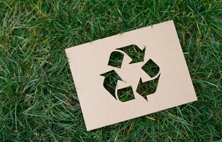 Photo recycling symbol on grass